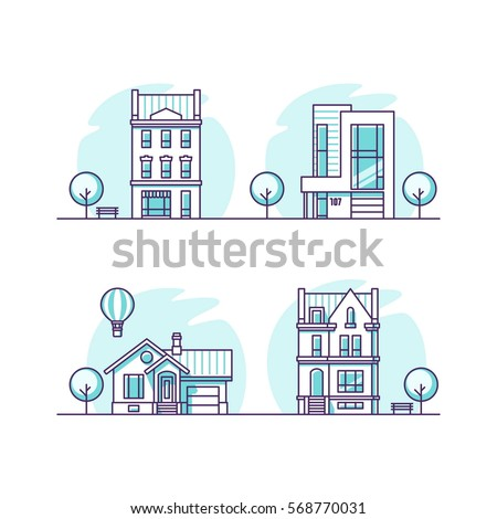 Set of urban and suburban houses. Vector illustration.