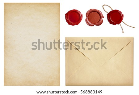 Old envelope and letter paper with wax seal stamps set isolated Royalty-Free Stock Photo #568883149