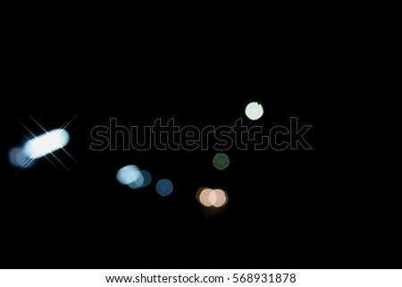 Picture blurred  for background abstract and can be illustration to article of traffic in night with bokeh #568931878