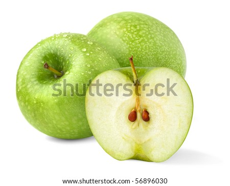 Isolated apples. Three green 'Granny Smith' fruits, one cut in half on white background #56896030