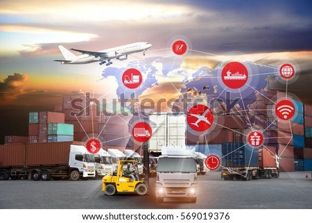 Smart technology concept with global logistics partnership and transportation of Container Cargo ship and Cargo plane, Business logistics concept , internet of things #569019376