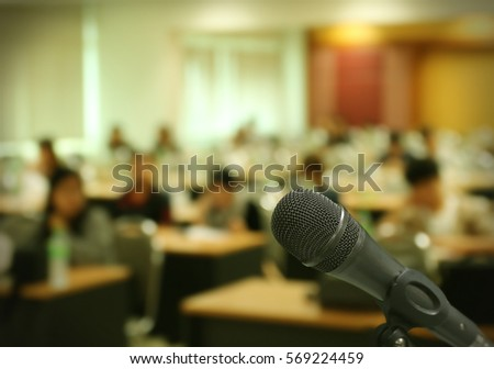 Close up microphone in conference room,seminar meeting room in business event. #569224459