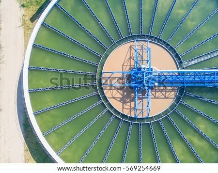 Top view of Recirculation Solid contact Clarifier Sedimentation Tank  #569254669