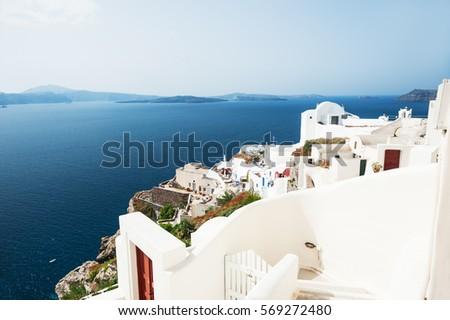 White architecture on Santorini island, Greece. Beautiful landscape, sea view.