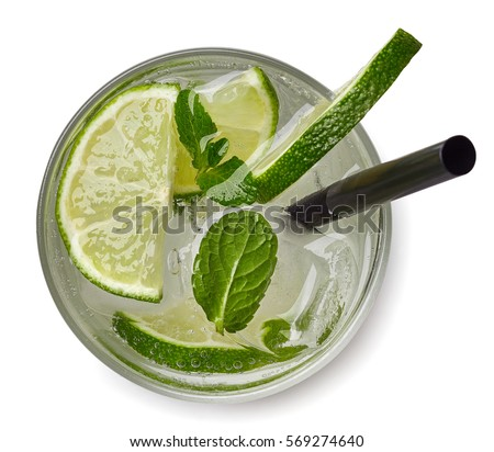 Mojito cocktail or soda drink with lime and mint isolated on white background. From top view #569274640