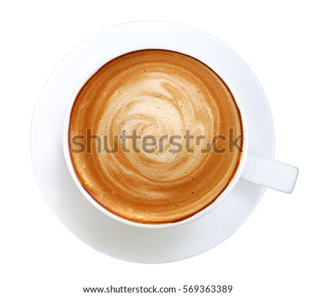 Top view of hot coffee cappuccino spiral foam isolated on white background, clipping path included #569363389
