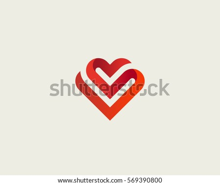 Heart vector symbol. Valentines day ribbon logotype. Abstract line medical health logo icon design. #569390800
