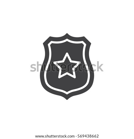 Sheriff badge with star icon vector, filled flat sign, solid pictogram isolated on white. Public safety symbol, logo illustration #569438662