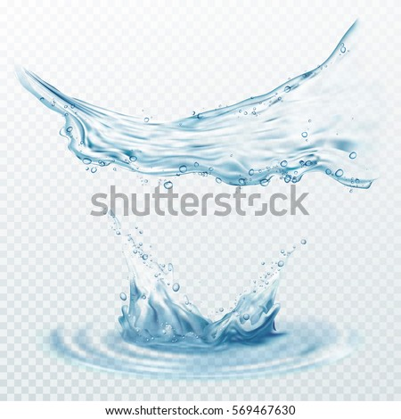 Transparent water splashes, drops isolated on transparent background. Vector illustration #569467630