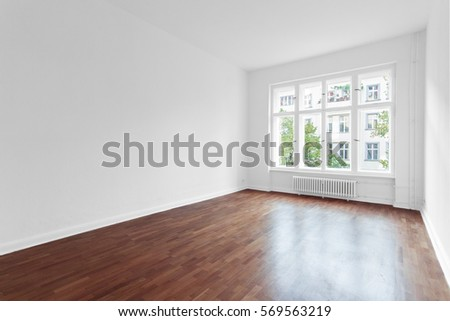 empty room with walls and wooden floor  #569563219