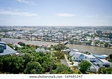 Overlooking the Whanganui River and City New Zealand. Photo taken from Durie Hill. #569685247