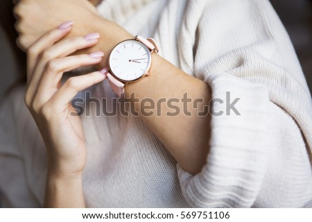 Watch on hand Royalty-Free Stock Photo #569751106