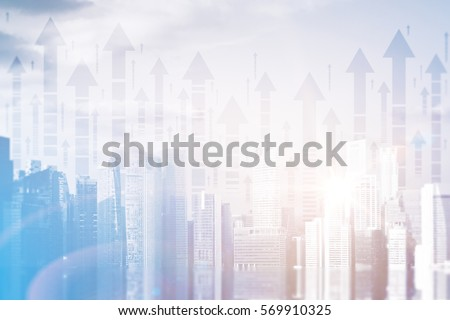 Abstract city with upward arrows and daylight. Double exposure. Finance concept