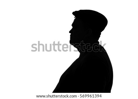 black and white silhouette of a plump man in a cap looking in profile #569961394