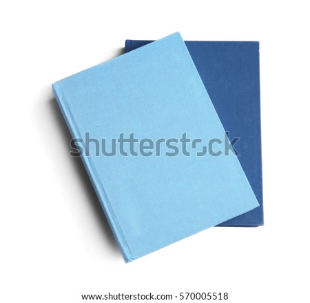 New hardcover books on white background #570005518