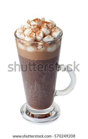 Hot chocolate with marshmallows in glass cup on white