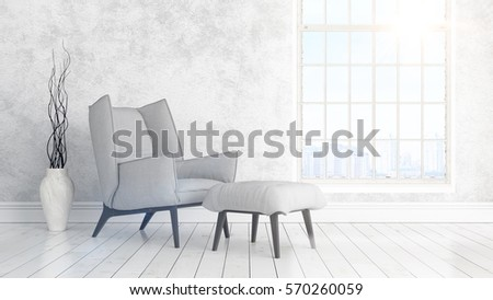 Modern bright interior with large window . 3D rendering #570260059