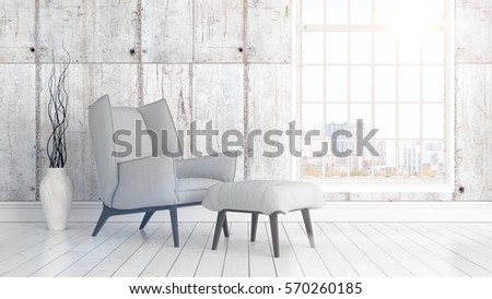 Modern bright interior with large window . 3D rendering #570260185