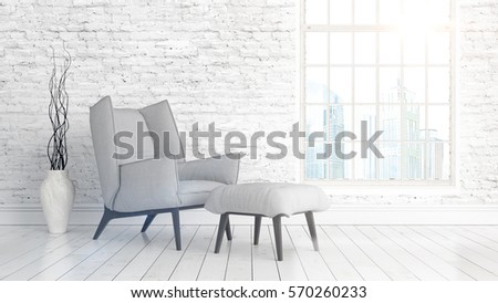Modern bright interior with large window . 3D rendering #570260233