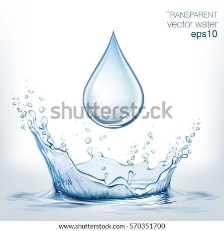 Transparent vector water splash and water drop on light background