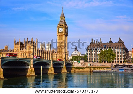 Big Ben Clock Tower and thames river in London at England Royalty-Free Stock Photo #570377179