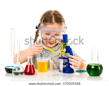 happy little girl with flasks for chemistry isolated on a white background #570509368