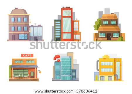 Flat design of retro and modern city houses. Old buildings, skyscrapers. colorful cottage building, cafe house. Royalty-Free Stock Photo #570606412