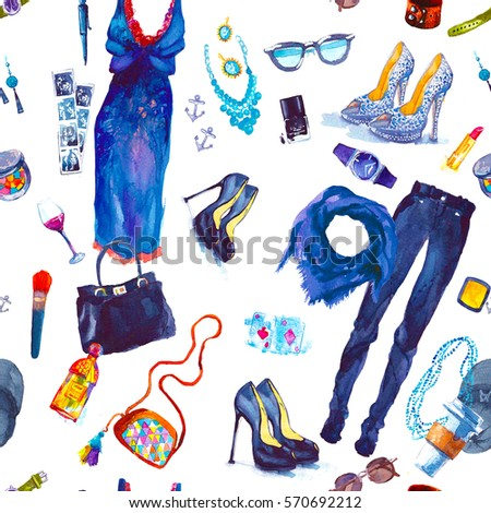 Watercolor seamless pattern with the things #570692212
