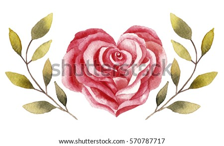 Watercolor illustration with rose in heart shape and green branches. Perfect for Valentine's Day designs, cards, posters and other.