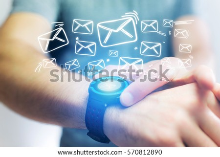 Concept view of sending email with a technology  smartwatch interface #570812890