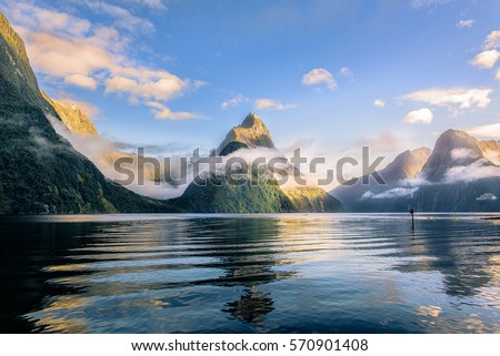 Mitre peak at Milford sound Royalty-Free Stock Photo #570901408