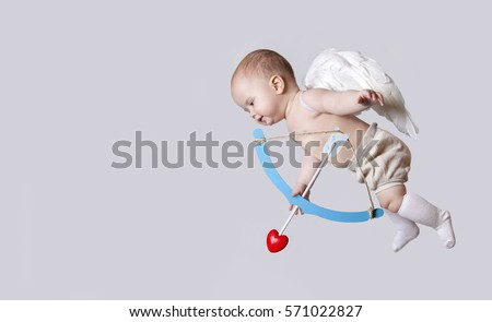 Profile small baby cupid with angel wings isolated on a grey background