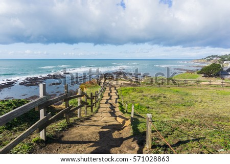 View towards Fitzgerald Marine Reserve at low tide from the path on the bluffs, Moss Beach, California Royalty-Free Stock Photo #571028863