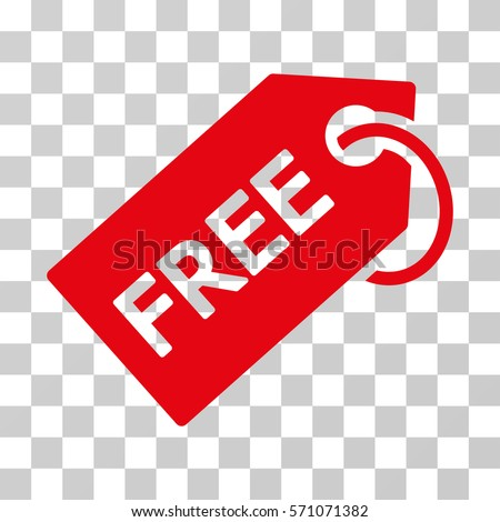 Free Tag icon. Vector illustration style is flat iconic symbol, red color, transparent background. Designed for web and software interfaces.