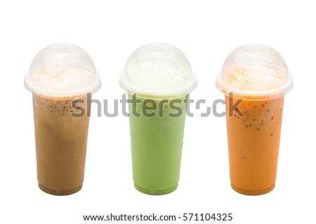 Iced coffee,Green tea milk,Milk tea on white background #571104325