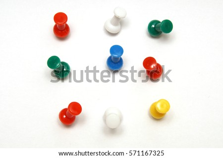 isolated on white, push pins #571167325