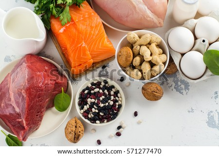 High protein food - fish, meat, poultry, nuts, eggs. Products goof for healthy hair. Space for text #571277470
