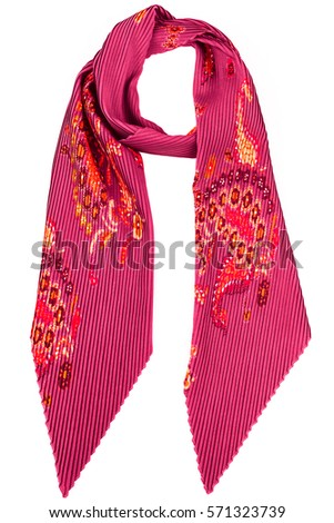 Pink silk scarf isolated on white background. Female accessory. #571323739
