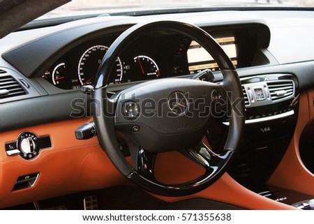 April 12, 2016; Kiev, Ukraine; Mercedes-Benz CL65 AMG V12 Bi-Turbo. Car interior luxury service. Car interior details. Editorial photo. #571355638