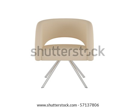 Brown office armchair isolated on the white background, 3D illustration/render #57137806
