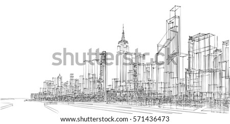 architecture abstract, 3d illustration #571436473