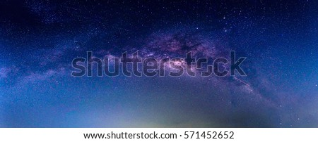 Landscape with Milky way galaxy. Night sky with stars. Royalty-Free Stock Photo #571452652