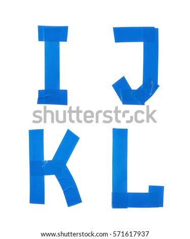 Set of I, J, K, L letter symbols made of insulating tape isolated over the white background