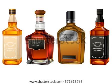 alcohol bottles set isolated on white #571618768