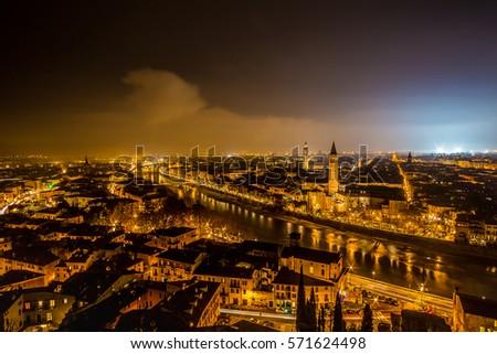 skyline of Verona city in Italy at night #571624498