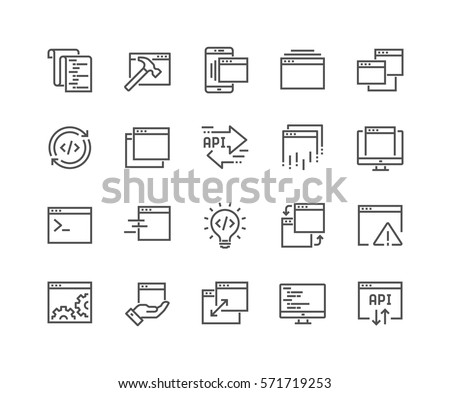 Simple Set of Application Related Vector Line Icons. Contains such Icons as Build, API, Terminal, Code Listing and more. Editable Stroke. 48x48 Pixel Perfect.