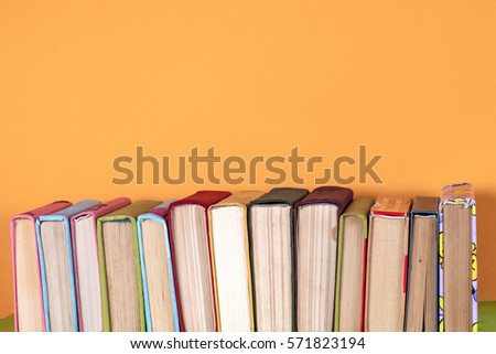 Set of colored books on bright colorful background.free copy space. Back to school copy space. Education background. #571823194