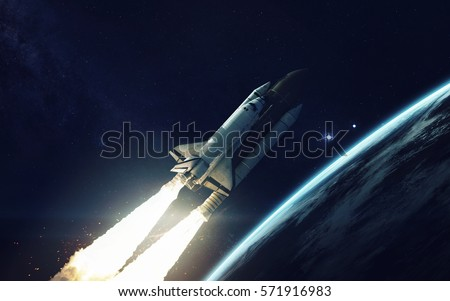 Space shuttle orbiting Earth planet. Elements of this image furnished by NASA #571916983