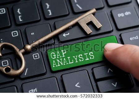 Closed up finger on keyboard with word GAP ANALYSIS #572032333