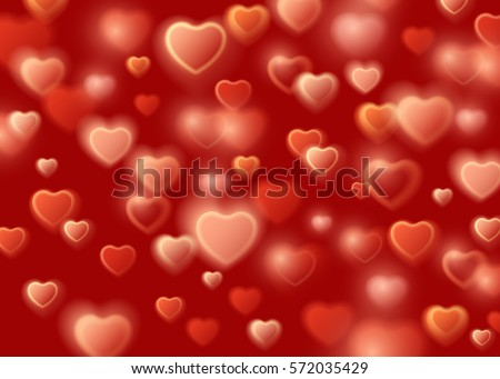 February 14. Love romantic 3D Realistic Red Hearts Background with Happy Valentines Day. Vector Illustration #572035429